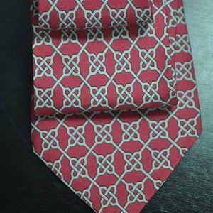 Hermes 871 PA Dark Pink & Gray 100% Silk Tie